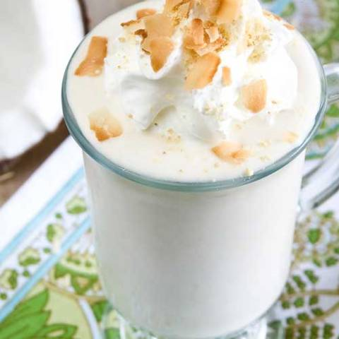 Coconut cream pie is my absolute favorite pie of all time. And now, it is my favorite milkshake flavor of all time.
