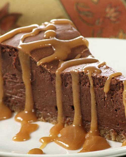Served with caramel sauce this delicious French Chocolate Cheesecake is sure to please all the chocolate lovers in your family!
