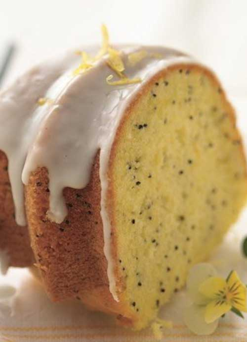 Recipe for Lemon-Poppy Seed Cake - The secret to moist, flavorful lemon-poppy seed cake is to start with lemon cake mix! Let your microwave speed your way to an easy lemon glaze.