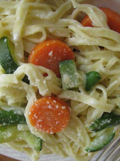 Light Vegetable Fettuccini Alfredo