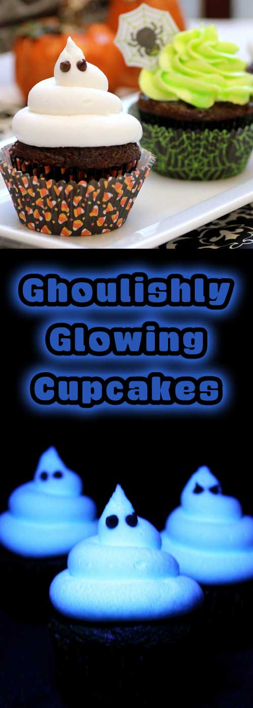 These cupcakes are so cute, and perfect for Halloween. But if you get them under a blacklight...THEY GLOW! How cool is that?!