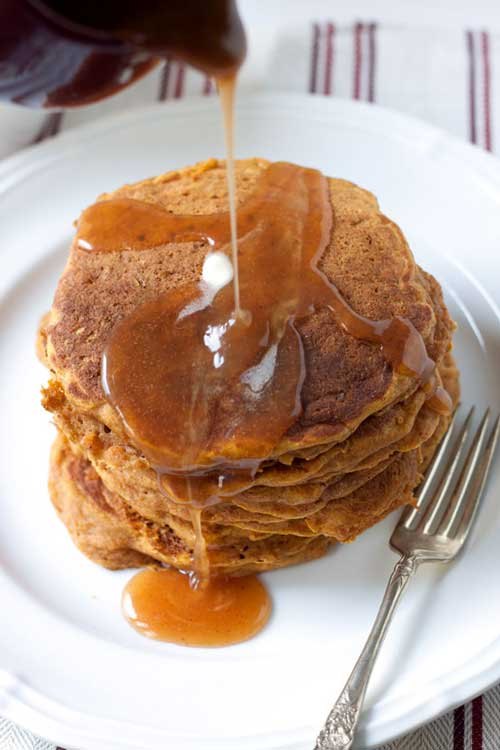 This is a glorious way to start any fall day. Pumpkin AND apples! If you're like me you may want to make extra just so you can have these pancakes for breakfast and dinner.