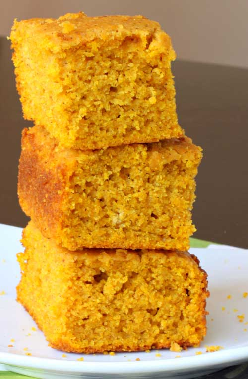 This pumpkin cornbread isn't overly pumpkin-y; it has just the right amount of pumpkin flavor hanging out in the background. It's perfect served with a drizzle of honey on top, alongside a bowl of chili!