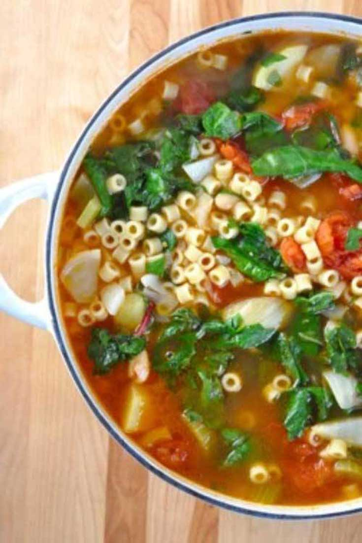 Try the warmth and heartiness of a hot soup. This Winter Minestrone Soup is an easy and quick soup to prepare, and wonderful to enjoy with a loaf of crusty Italian bread. #soup #minestrone #Italian