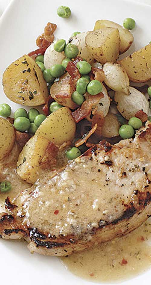The key to timing this White Balsamic Pork Chops with Roasted Potatoes is to marinate the pork first and then prep and cook the potatoes.