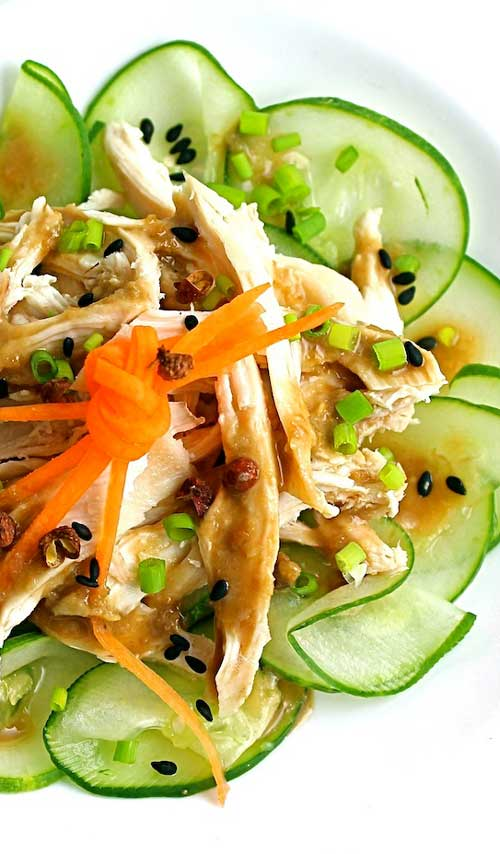 This is a refreshing dish of cucumbers and chicken topped with a nutty sauce spiked with Sichuan pepper.