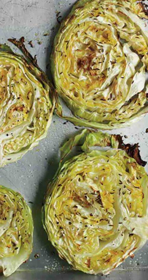 Recipe for Roasted Cabbage Wedges - Super simple to make, this healthy side dish packs a crunchy, flavorful punch.