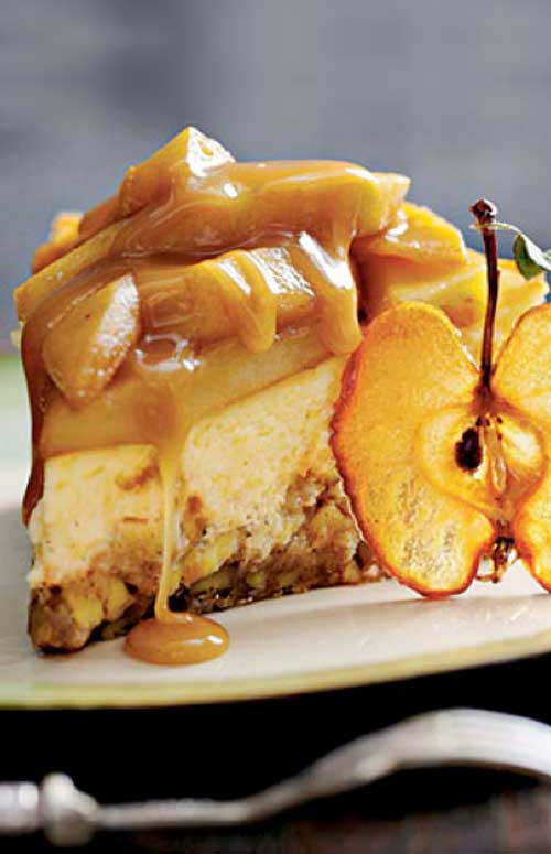 Combine two of fall's favorite flavors—caramel and apples—in this decadent cheesecake. The crust is an apple filled brownie, and the creamy cheesecake is topped with a caramel-apple topping and a rich caramel sauce.
