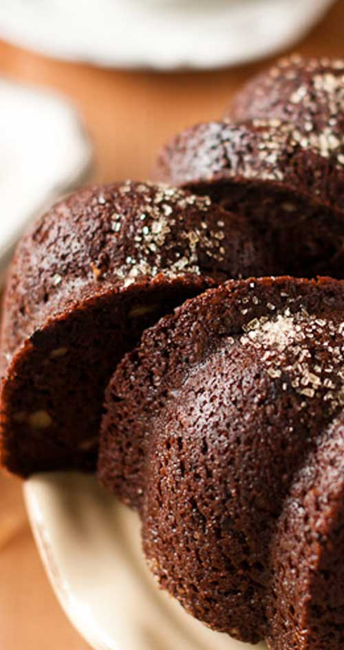 This is a beautiful Chocolate-Walnut Bundt Cake recipe, that just so happens to be loaded with chocolate-y goodness!