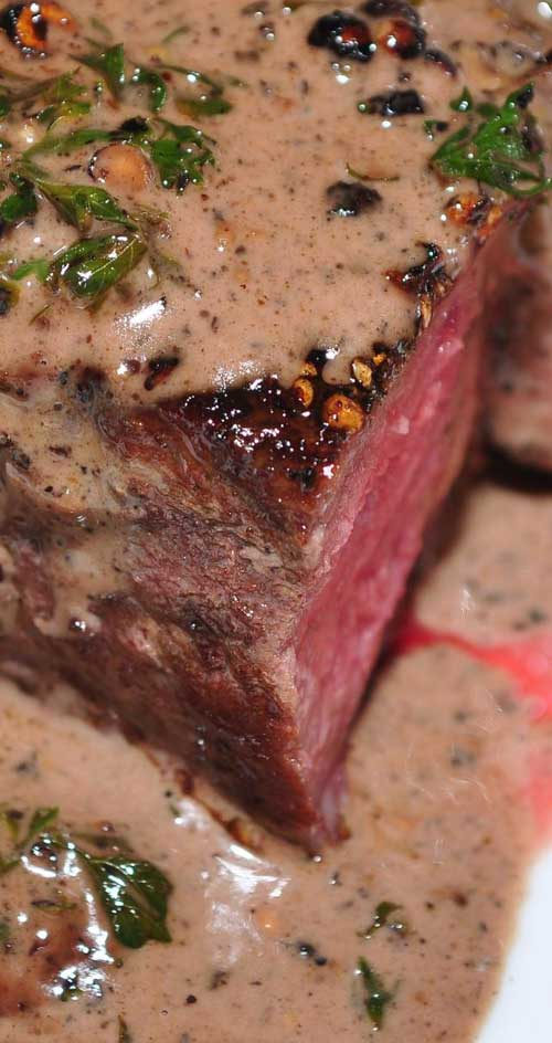 My favorite fancy steak dish is steak au poivre (with pepper). This is a simple version of the steak au poivre you've had in restaurants.