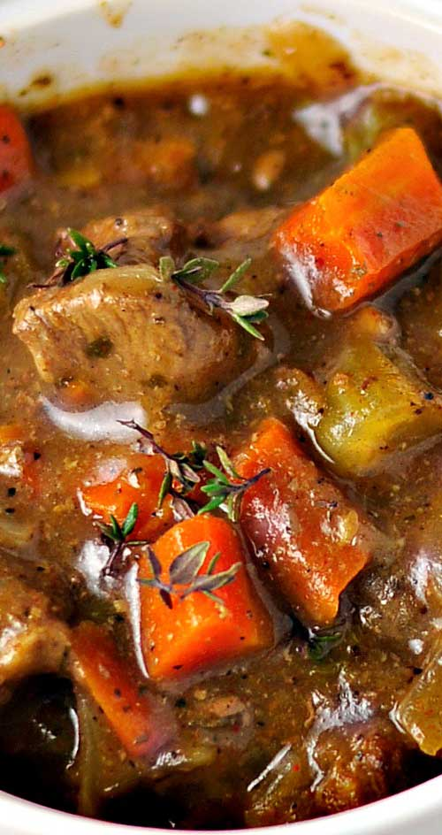Here's a good old-fashioned stew with rich beef gravy that lets all of the flavors come through. This is the perfect hearty dish for a blustery winter day. #comfortfood #stewrecipe #winterrecipe