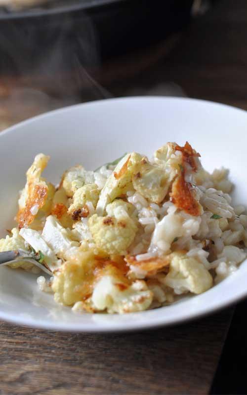 Roasted Cheesy Cauliflower Risotto