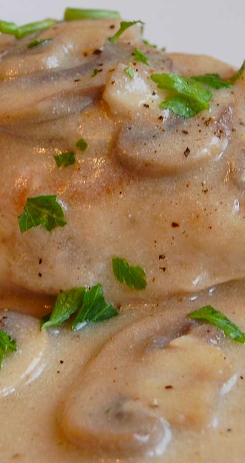 This dish was so warm and inviting. The mushroom sauce was creamy and a little tangy....so good over mashed potatoes.