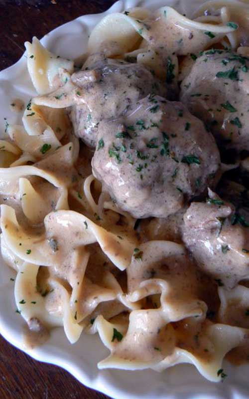 Nothing beats homemade Swedish Meatballs on Noodles smothered in a creamy gravy sauce, and they taste much better than the IKEA version!