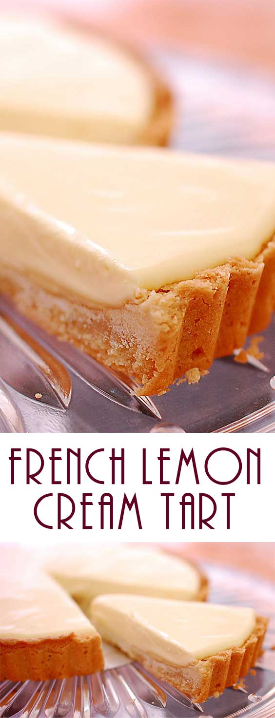 This French Lemon Cream Tart is creamy and light - yet rich and decadent too - and balances sweetness and tartness just right. Delicious! #lemonrecipe #springbaking #lemontart