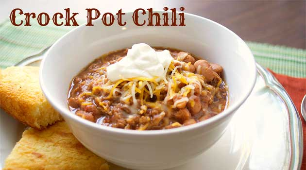 Recipe for Crock Pot Chili with Beans - This hearty chili has a mild flavor, perfect for families with kids. It's easy to customize and add your favorite toppings.