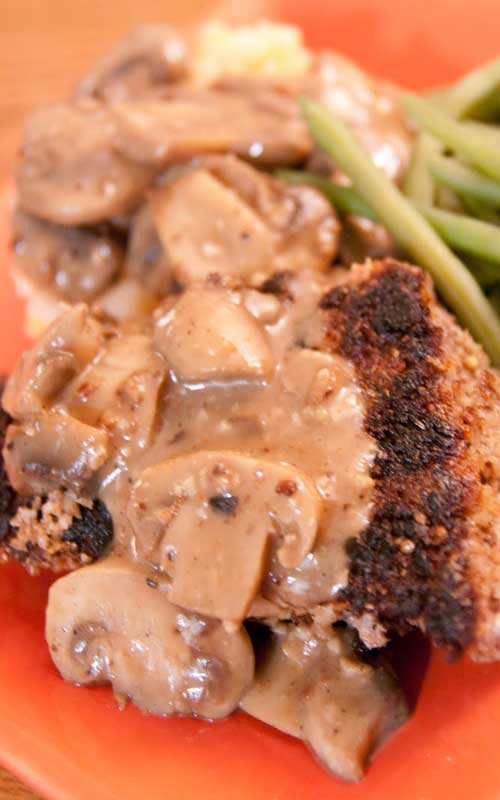 London Broil, pounded and breaded in a flavorful whole grain breading and cooked to a medium-rare. This Country Fried Steak with Mushroom Gravy was delicious, but the mushroom gravy was the best part!