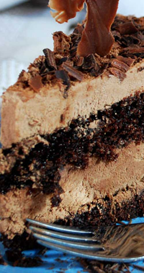 "Recipe for Double Chocolate Mousse Cake - If you are a ""chocoholic"", this is the cake for you. And I really, really mean this is for you. It is so rich and luscious; it will leave you with wanting more."