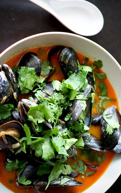 Recipe for Thai Curry Mussels - These Thai Mussels make a beautiful gourmet-style dinner, and they're easy to make too! If your mussels are already clean and ready to go, this dish can literally be on your table in just minutes.