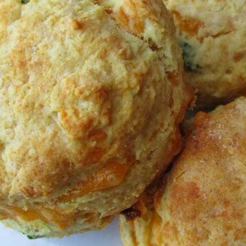 Recipe for Flaky Cheddar-Chive Biscuits - So easy, so delicious. Especially when eaten fresh out of the oven. Make sure you have plenty of butter!