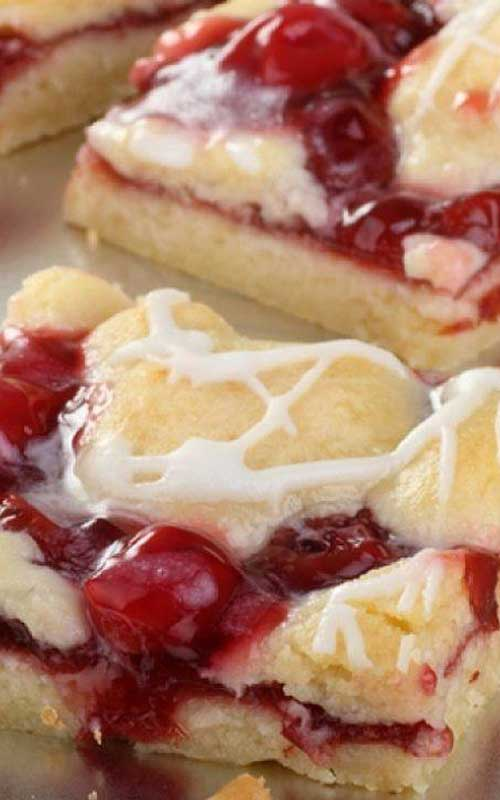 Recipe for Cherry Pastry Bars - Whip these bars in just 30 minutes. Between the easy preparation and pretty color, they're destined to be a favorite!