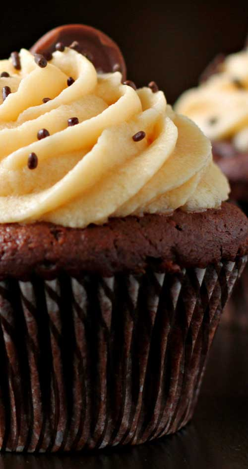 Recipe for Chocolate Cupcakes with Salted Caramel Buttercream - These cupcakes almost don't need words. Just read the name and look at the pictures. You really can't go wrong with chocolate and caramel.