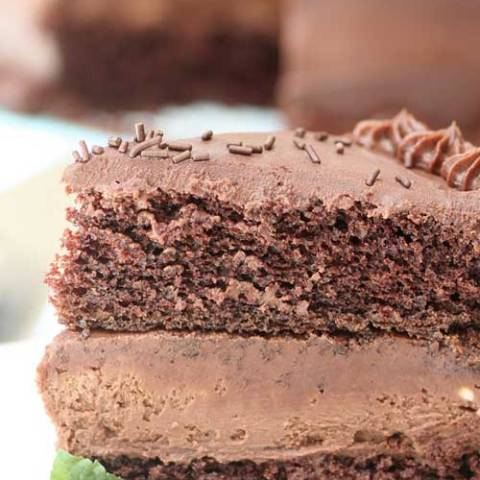 Recipe for Chocolate Cheesecake Cake - If you are in need of a chocolate fix, this is perfection! It's chocolate, on chocolate, with yet even more chocolate!!