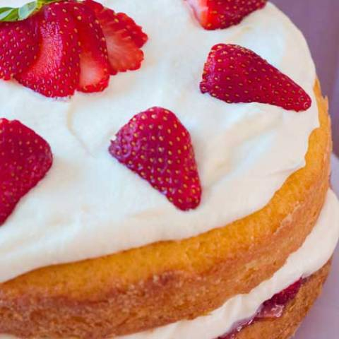 Recipe for Strawberry Cream Cake - Strawberry shortcake is the iconic strawberries and cream dessert, and for good reason, but for me, this cake is a step above.