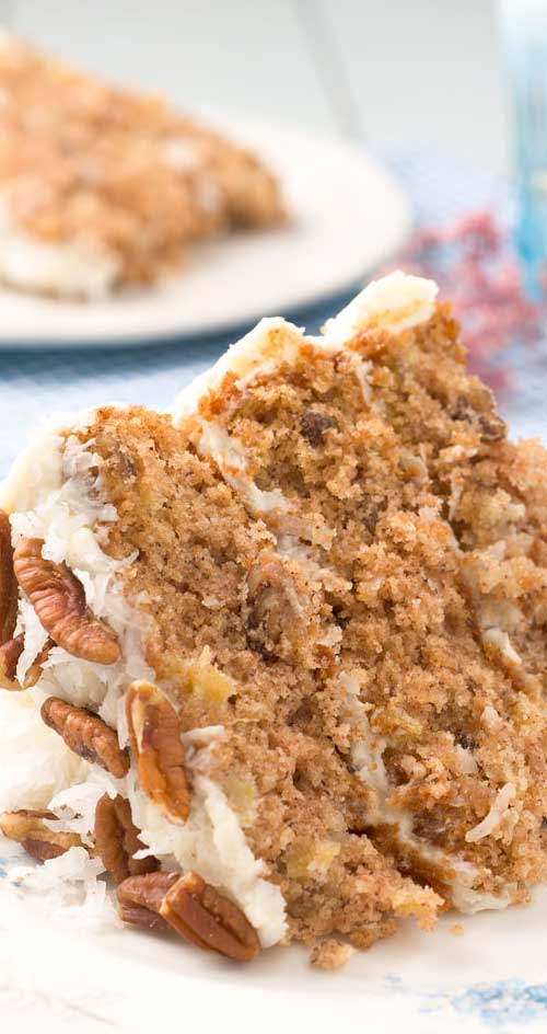 Do you like pineapples, bananas and coconut? Do you like deliciously layered cakes? If you answered yes, then you are going to love this cake! #cakerecipe #springbaking #desserts