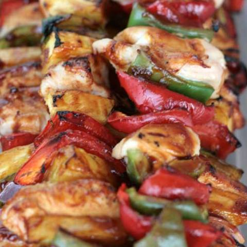 Recipe for Sweet BBQ Chicken Kabobs - Brush on a delicious sauce and grill up these tasty chicken kabobs in just minutes.