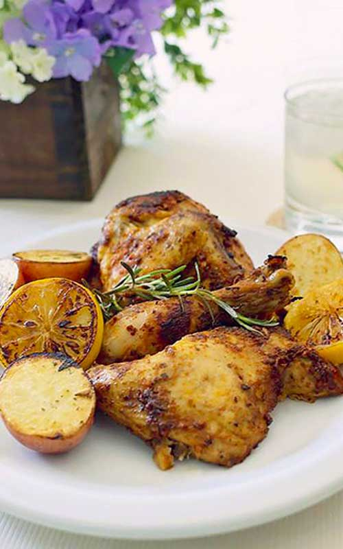 Recipe for Skillet Rosemary Chicken - Tasty rosemary from your herb garden and the fresh tart of lemon makes the dish explode with so much flavor that you'll want to make this a weekly go-to meal for everyone to love.