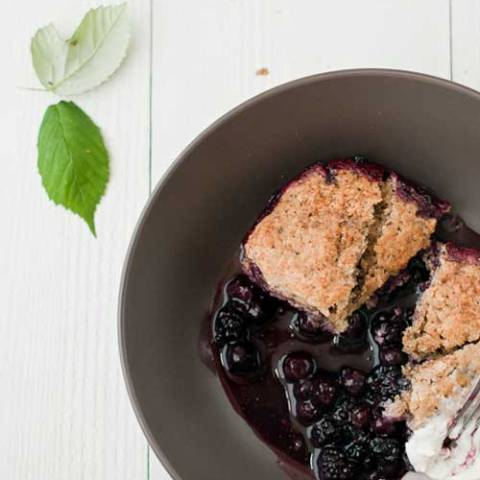 Recipe for Blueberry-Blackberry Cobbler - There aren't too many desserts that are as easy as cobbler yet so incredibly delicious as well.