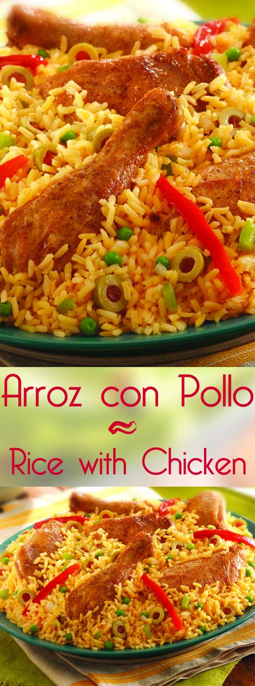 Everyone loves arroz con pollo! Not exaggerating, just being stating facts. Here's a recipe for this amazing chicken and rice dish that will definitely have your guests coming back for more time and time again. #chickenandrice #mexicanfood #chickenrecipe