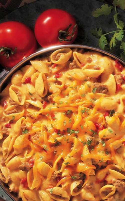 Cheesy Picante Beef Macaroni