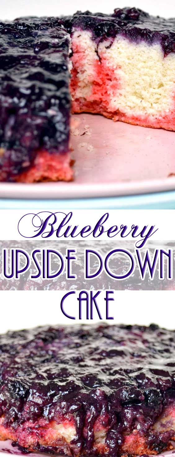 This blueberry upside down cake is slightly sweet and oh so decadent with it's thick, jam-like layer of blueberries sitting on top of a super-moist cake layer. #cakerecipe #blueberries #blueberrycake #dessertrecipe