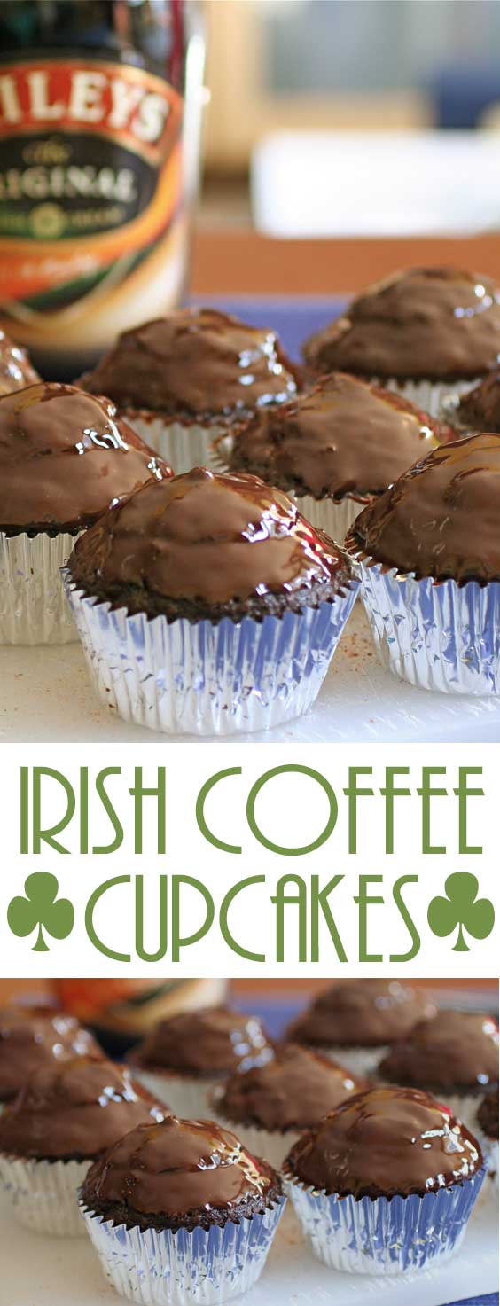 These Irish Coffee Cupcakes may take a bit more work than some other recipes out there...but look at that chocolate ganache! Then there's the surprise Irish cream filling! #cupcakerecipe #stpatricksday #adultdessert