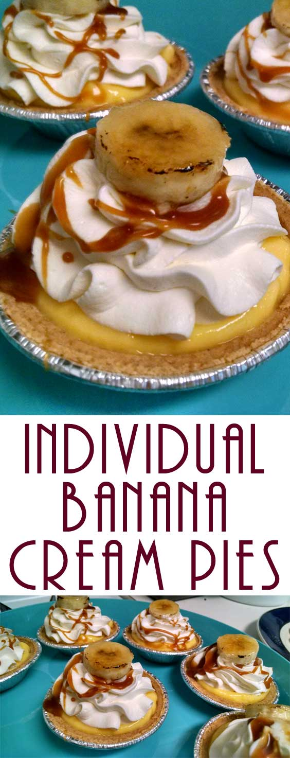 This easy and yummy recipe is the perfect ending to any meal. Sweet banana, rich pudding, and fluffy whipped cream packed into a mini flakey pie crust! Who could ask for anything more?! #holidaydessert #partyfood #dessertrecipe #nobakedessert