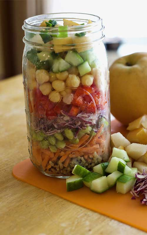 The colorful veggies bring a crunch and miso ginger dressing adds a unique twist to this salad recipe. The mason jar also allows for an appropriate serving size, and makes this Asian Mason Jar Salad a great on-the-go lunch.