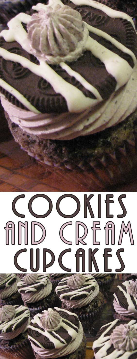 Chocolate cookie crumbs and cream cheese frosting sandwiched into a layered cupcake, these Cookies and Cream Cupcakes are just like that all-time favorite ice cream flavor #cupcakerecipe #dessertrecipe #chocolate #baking