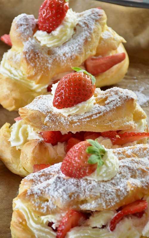 Strawberry Cheesecake Eclairs