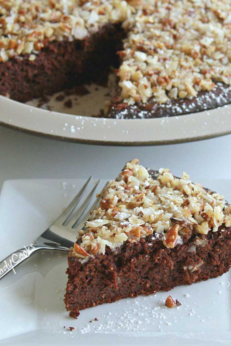This Pecan Coconut Topped Brownie Pie is an easy to make dessert that will make any day special. A tried and true brownie recipe which has an easy pecan and coconut topping. #brownie #pie #dessert #coconut #chocolate