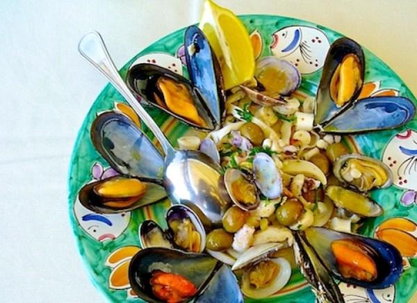 Seafood dishes in Sperlonga