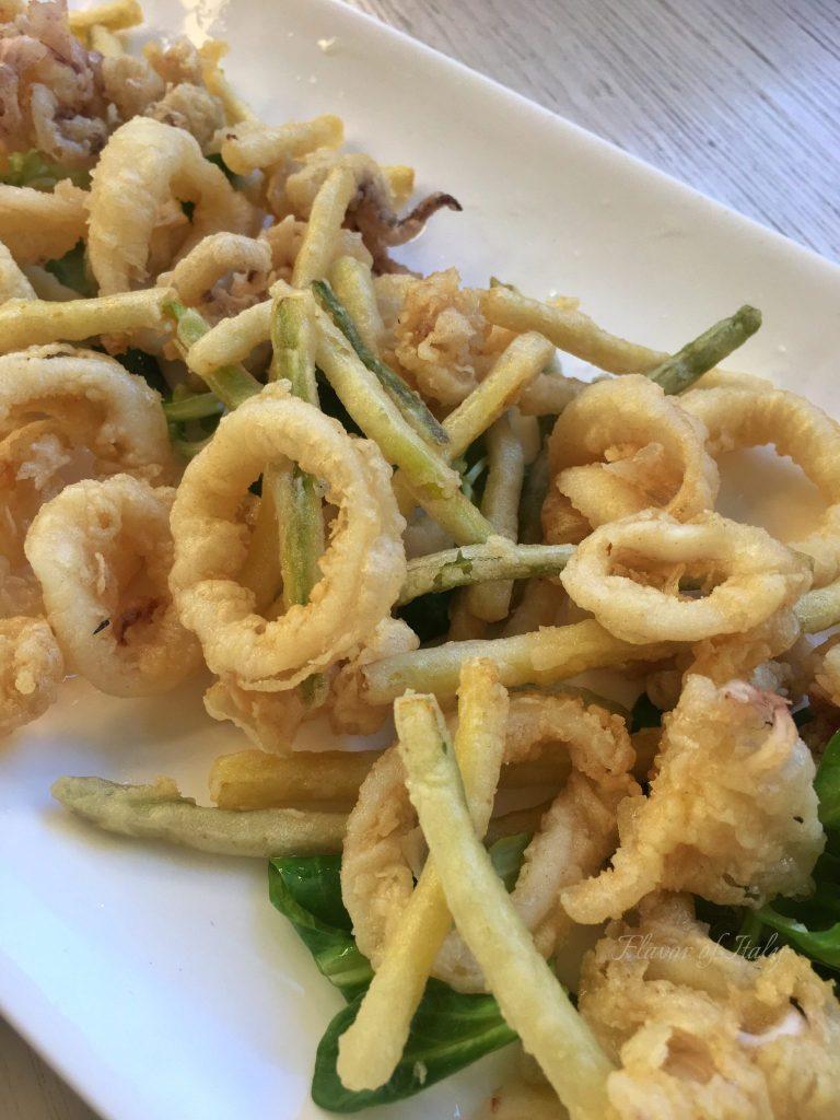 Fried calamari and julienned zucchini