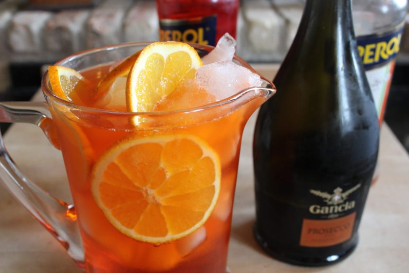 A pitcher of Aperol spritz