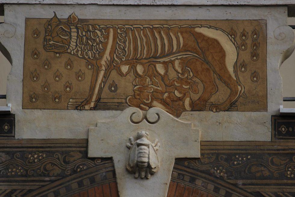 Fairy Cottages fresco and design details, Quartière Coppedé