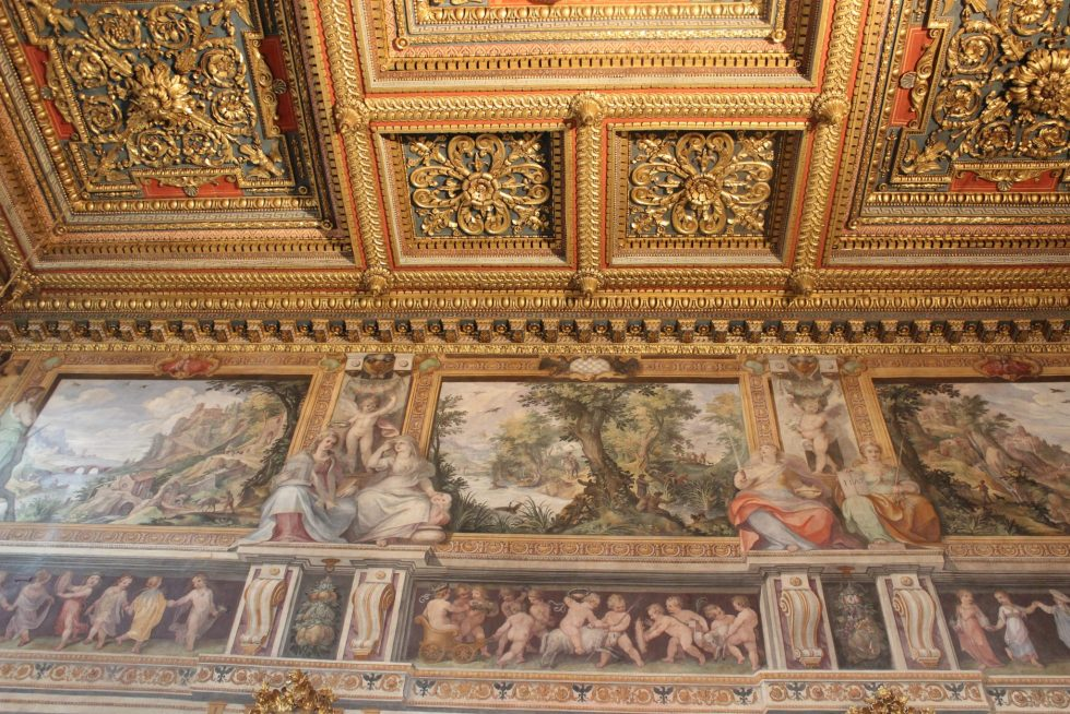 Grand Salotto Palazzo Caetani ceiling detail and frescoes
