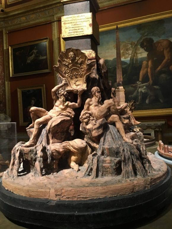 Fountain of the Four Rivers mockup, Bernini exhibit at the Galleria Borghese in Rome, January 2018