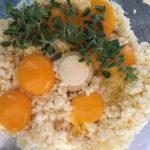 Making ravioli caprese filling in a food processor