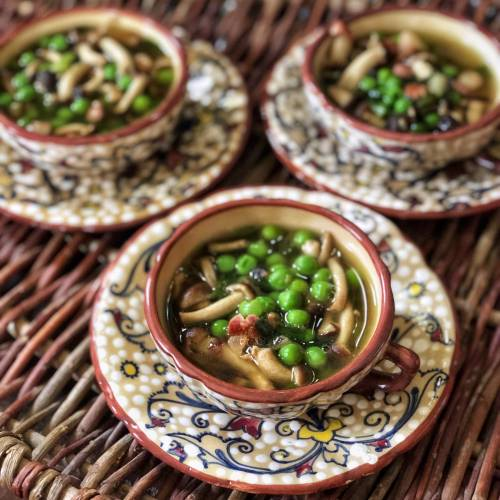 Pioppino mushroom soup with spring peas, pancetta and green onions; make in just 20 minutes!