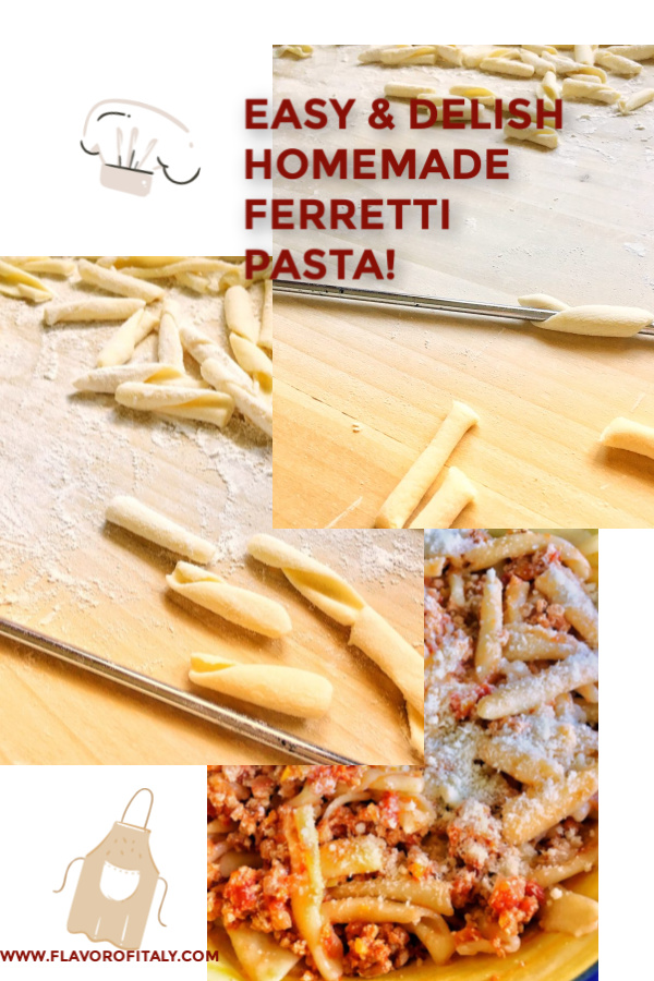FERRETTI PASTA, A SOUTHERN ITALIAN EGGLESS PASTA, is a delightfully fun pasta to make with children. It's so easy for kids to take a little piece of pasta dough and roll it between their hands; however it comes out is great and they have the satisfaction of cooking with you!